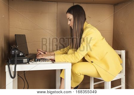 Business Woman Working Hard In His Small Office