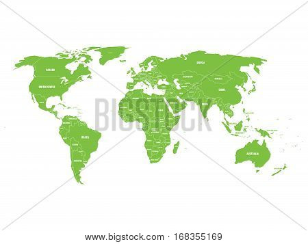 Green political World map with country borders and white state name labels. Hand drawn simplified vector illustration.