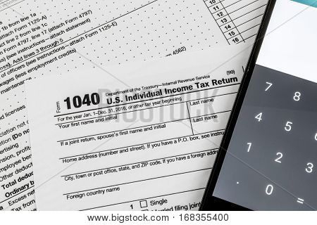 Close up shot of United States Internal Revenue Service (IRS) tax return form.