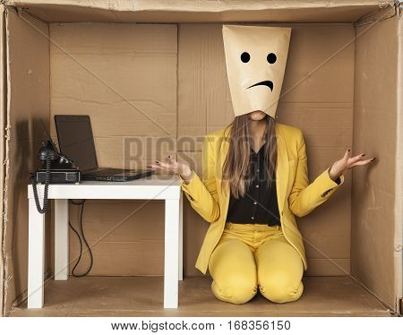 Sad Business Woman Donned A Paper Mask