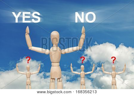 Wooden dummy puppet on sky background with words YES and NO. Abstract conceptual image