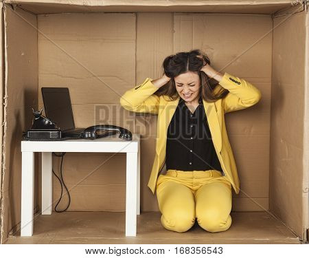 Business Woman Pulls Her Hair With Stress