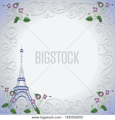 Eiffel tower. Violets. Frame. Design for greeting card, Notepad, Souvenirs, symbols of Paris.