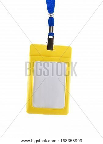 yellow plastic case of neck label hanging isolated on white background, blank label with blue neck strap