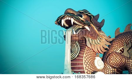Chinese golden dragon statue. Processed with vintage style can be used for background