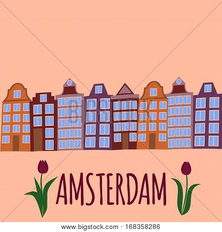Amsterdam city flat art. Travel landmark, architecture of netherlands, Holland houses, european building isolated set