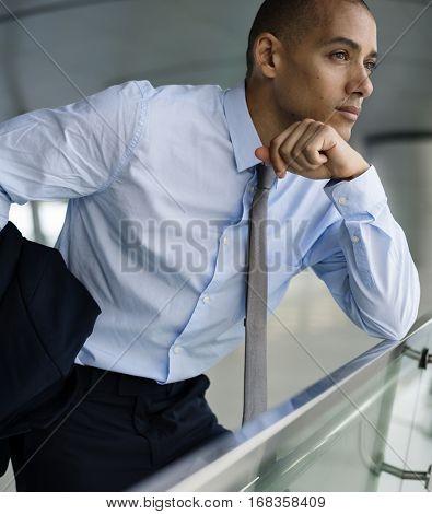 Businessmen African American Posing Thinking