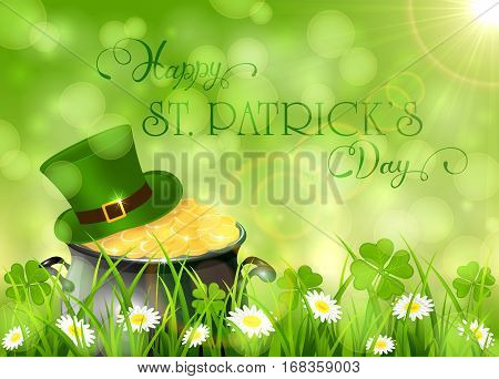 Sunny background with clover and cauldron with gold leprechauns in grass, holiday lettering Happy St. Patrick's Day, illustration.