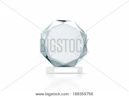 Blank round glass trophy mockup 3d rendering. Empty acrylic award design mock up. Transparent crystal prize plate template. Premium first place prise plaque isolated on white front view.