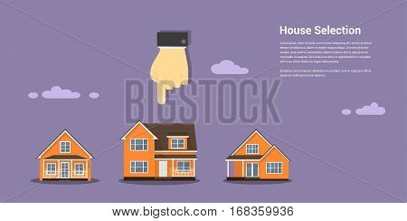 picture of a human hand glass and number of houses, house selection, house project, real estate concept, flat style illustration