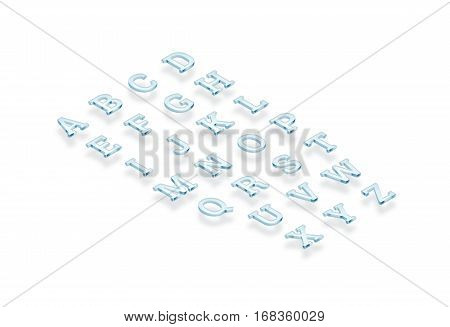 Glass transparent alphabet isometric view 3d rendering. Turquoise letters set rendered from isometry side. Shiny acrylic abc types cut out. Glassy bright crystal typography characters text.