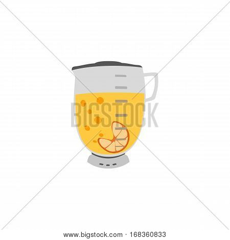 Kitchen appliance isolated on white. Electric juice blender. Home food processor juicer machine. Freehand drawn cute cartoon vector illustration of household blending device. Orange drink kitchenware