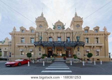 MONTE CARLO, MONACO - AUG 3, 2016: Casino Monte Carlo in Monaco. Most luxurious Principality Building