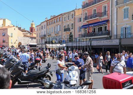 SAINT-TROPEZ, FRANCE - AUG 2, 2016: Populous urban area of Saint-Tropez