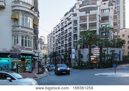 MONTE CARLO, MONACO - AUG 2, 2016: Crossroads and narrow streets of densely populated city