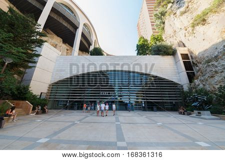 MONTE CARLO, MONACO - AUG 3, 2016: Railway station in valley station and in rocks of Monte Carlo - Monaco