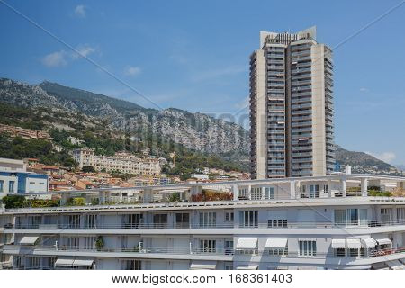 view of high rise and apartment building of one of densely populated districts of Monaco