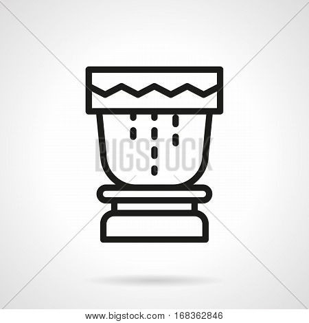 Abstract wooden drum for tropical festivals. Percussion element. Ethnic musical instrument concept. Black simple line design vector icon.