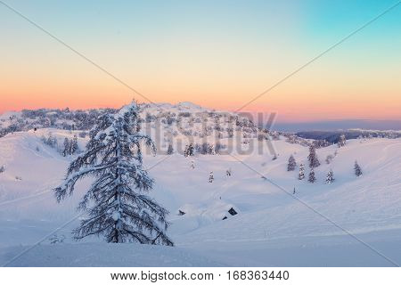 Magical Sunset Winter In Julian Alps Mountains