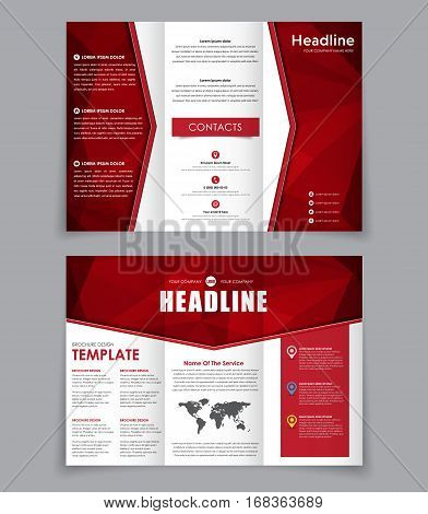 Design Folding Brochure With Red Polygonal Elements.