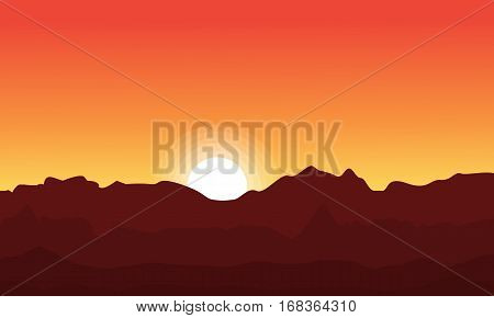 At sunset desert landscape silhouette collection stock