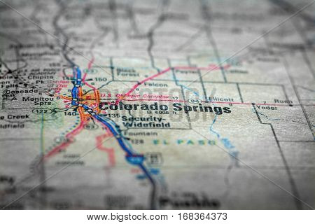 Travel to locations on map views paper destinations Colorado Springs