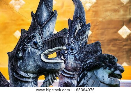 Chiang Mai, Thailand. Dragon head sculptures of Phra Singh temple in Chiang Mai, Thailand. Golden wall background