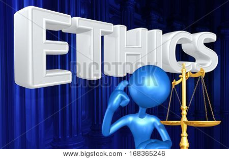 Ethics Law Concept With The Original 3D Character Illustration