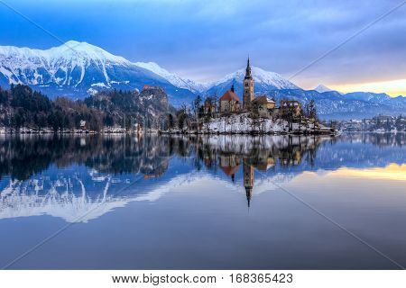 Bled With Lake In Winter, Slovenia, Europe