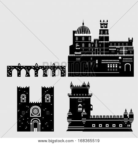 Travel landmark Portugal elements. Flat architecture and building icons Tower Belem Sintra castle Pena Palace aqueduct of freedom name Aguas libre and Cathedral of Lisbon. National portuguese symbol