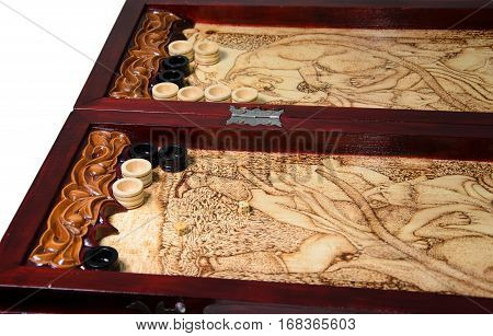 backgammon board game isolated on white background