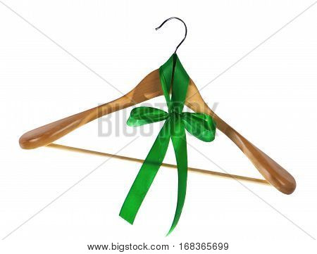 Wooden coat hanger isolated on a white background