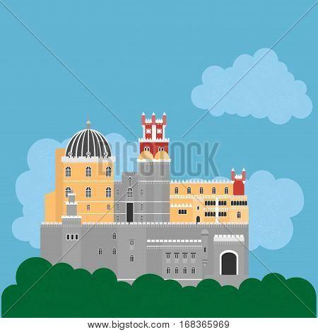 Travel landmark Portugal elements. Flat architecture and building icons Sintra castle Pena Palace National portuguese symbol