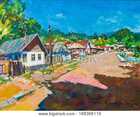 Closeup of rural street canvas painting with clean sky sunlight and shadow in Baia Mare.