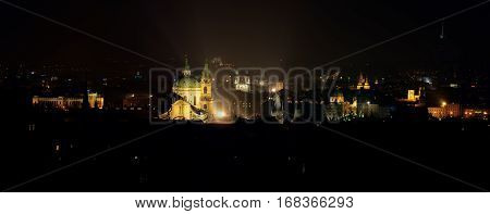 Prague, Mala Strana, night view panorama from Strahov garden