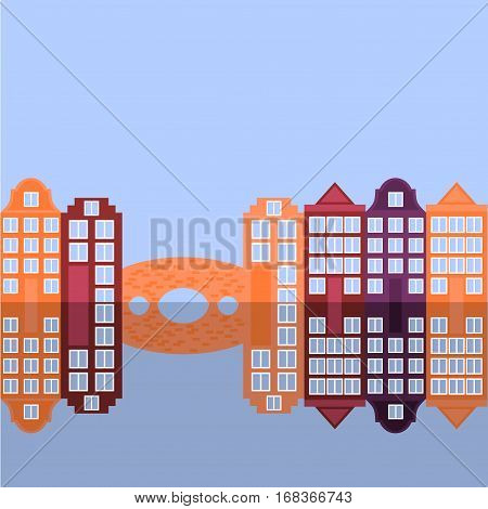 Amsterdam city flat art. Travel landmark architecture of netherlands Holland houses european building isolated bridge and river