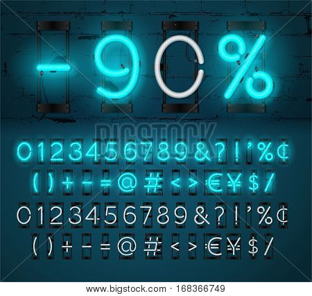 Neon Light Alphabet Vector Font. Glowing text effect. On and Off lamp. Neon Numbers and punctuation marks on Brick wall background. isolated on blue background.