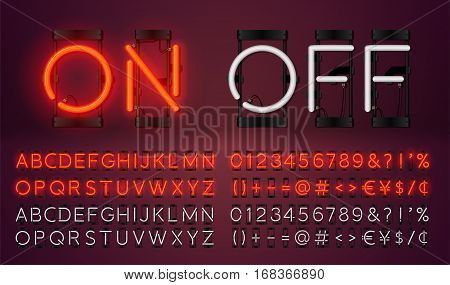 Big neon set glowing alphabet vector Font. Glowing text effect. On and Off lamp. Neon Numbers and punctuation marks. isolated on red background.