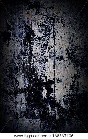 Dramatic dark old painted wall with white and black paint splashes - background for your grunge design