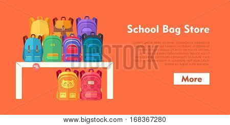 School bag store. Various contemporary bags for school, green, yellow, brown, blue, violet, red on and under white table. Different in shape and size, color. Flat design. Vector illustration