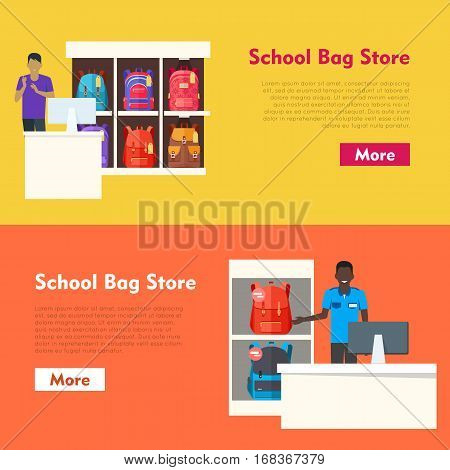 School Bag Store banners set. Seller near white table offering some modern backpacks. Yellow and orange backgrounds. Various shapes, size and colour of backpacks. Different bags in white racks. Vector