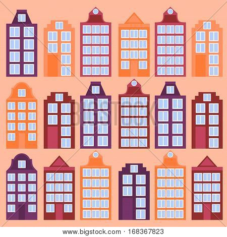 Amsterdam city flat line art. Travel landmark architecture of netherlands Holland houses european building isolated set