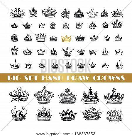 Vector heraldic elements design. A big set of black crowns. Hand drawn