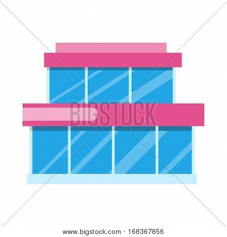 City supermarket isolated on white. Flat design supermarket general store, shopping mall and fashion store icon. Marketing, supermarket shelf aisle. Building with big windows. Vector illustration