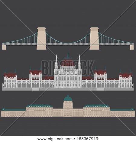 Hungarian City sights in Budapest. Hungary Landmark Global Travel And Journey Architecture Elements Buda castle Chain Bridge. Budapest parliament St. Istvan basilica