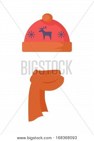 Hat. Red headwear with blue deer and two snowflakes. Warm hat and orange scarf twisted on the left side. White background. Modern winter wearing with cartoon animal. Flat design. Vector illustration