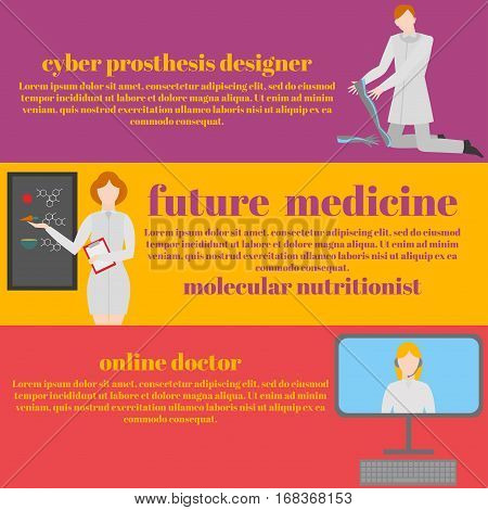 Future doctors and nurses and medical staff. Medical futuristic team in flat design people character. Molecular diet genes prostheses it medic and online doctor