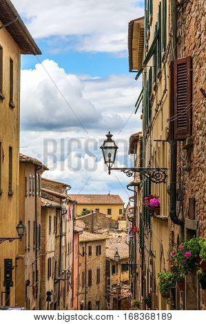 Street Of The Medieval Village Volterra. Italy, Tuscany
