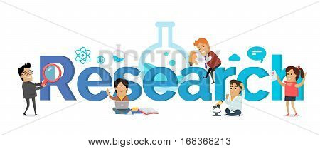 Research banner. Education concept. Flat style. Scientist, teacher, student characters on white background and letters. Physics, biology, astronomy literature engineering math illustration