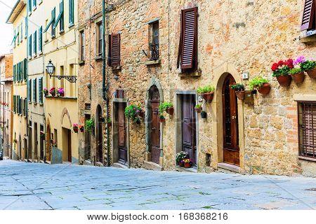 Street Of The Medieval Village Volterra. Italy
